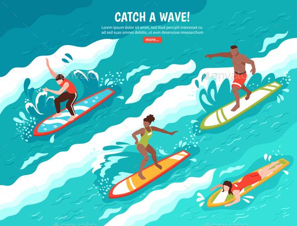 Catch Wave Surfing Concept - Sports/Activity Conceptual