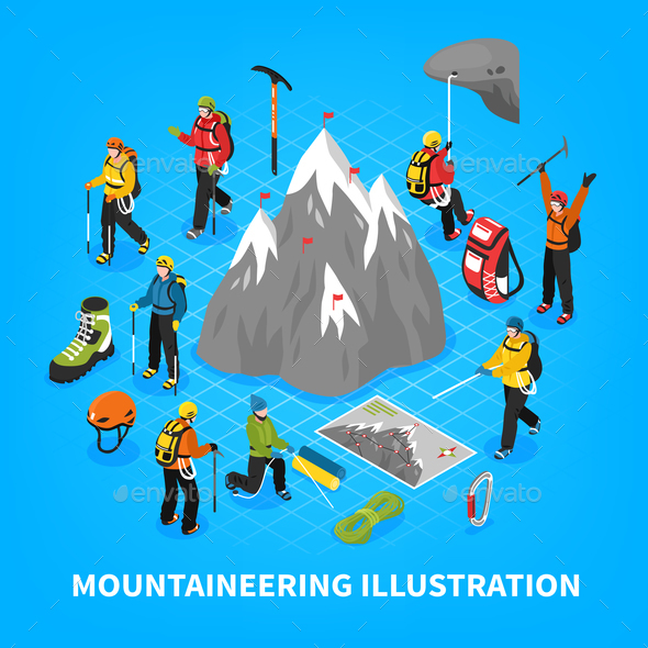 Mountaineering Isometric Illustration - Sports/Activity Conceptual