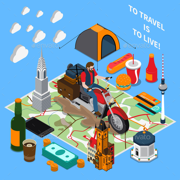 Tourist Lifestyle Isometric Composition - Travel Conceptual