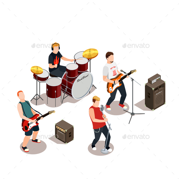 Rock Band Isometric Composition - People Characters