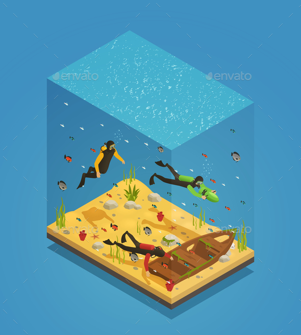 Scuba Divers Underwater Isometric Composition - Animals Characters