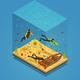 Scuba Divers Underwater Isometric Composition