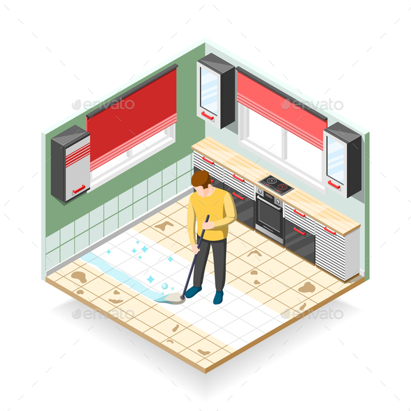 Home Cleaner Isometric Composition - People Characters