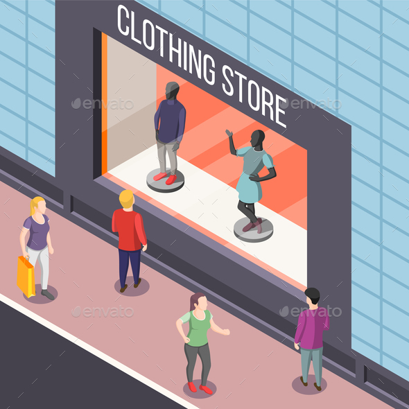 Clothing Store Isometric Background - Buildings Objects