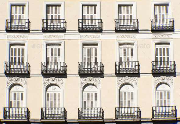 Facade with balconies in Madrid - Stock Photo - Images