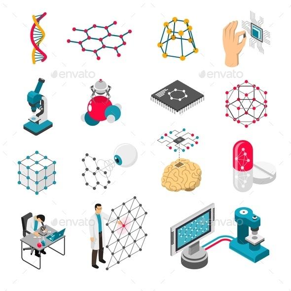 Nano Technology Isometric Icons Set - Computers Technology