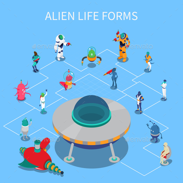 Alien Isometric Flowchart - Miscellaneous Vectors