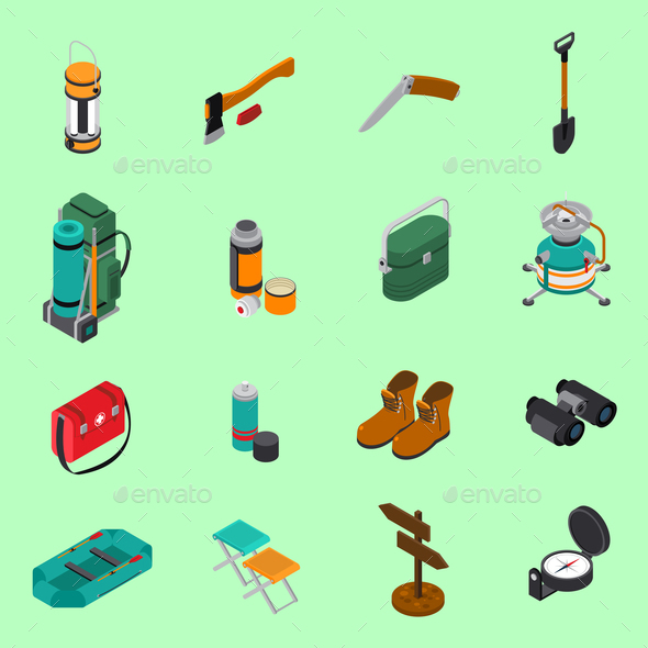 Hiking Icons Set - Sports/Activity Conceptual