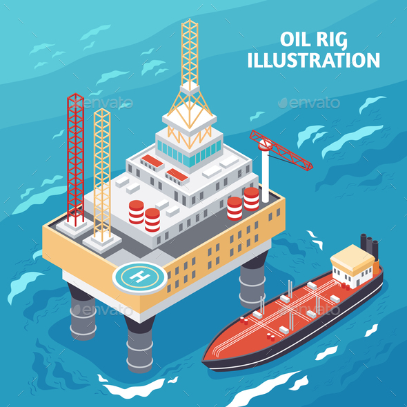 Oil Industry Isometric Composition - Industries Business