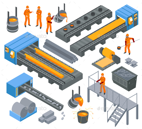 Steel Industry Isometric Set - Industries Business