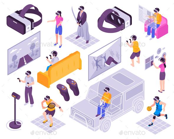 Virtual Reality Isometric Set - Sports/Activity Conceptual