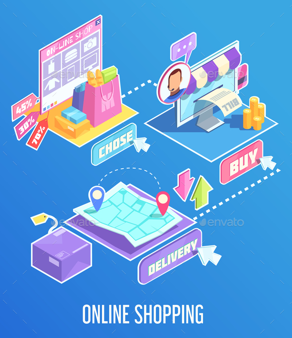 Internet Shopping Isometric Composition - Web Technology