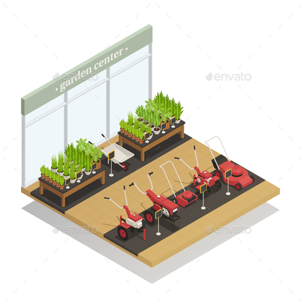 Garden Center Equipment Sale Isometric Composition - Miscellaneous Conceptual