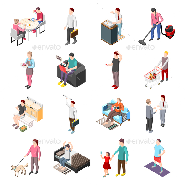 Life of Ordinary People Isometric Icons - People Characters