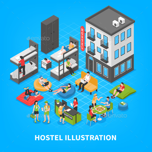 Hostel Isometric Composition - Business Conceptual