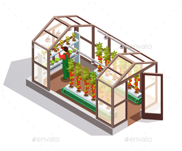 Isometric Greenhouse With Glass Walls - Backgrounds Decorative