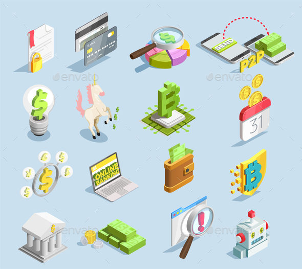 Financial Technology Isometric Set - Business Conceptual
