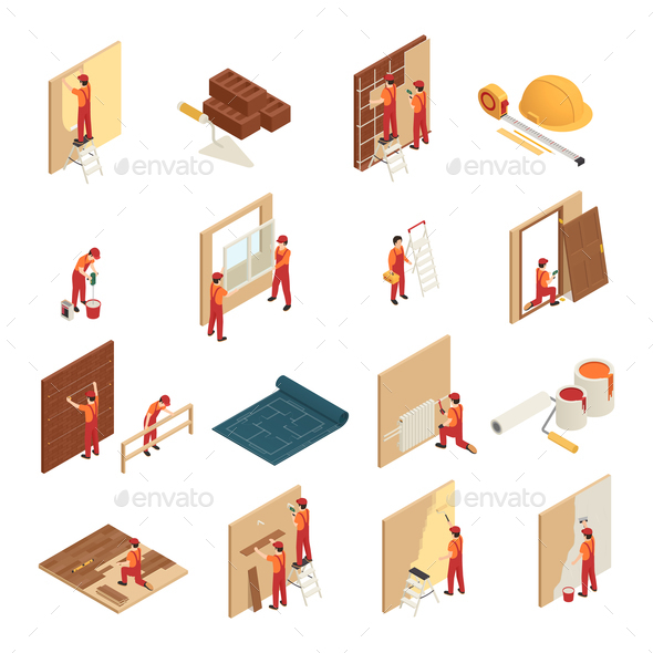 Home Renovation Isometric Icons - Miscellaneous Vectors