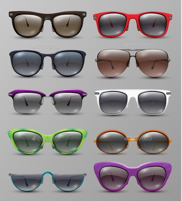 Isolated Realistic Sun Glasses with Color Lens - Man-made Objects Objects