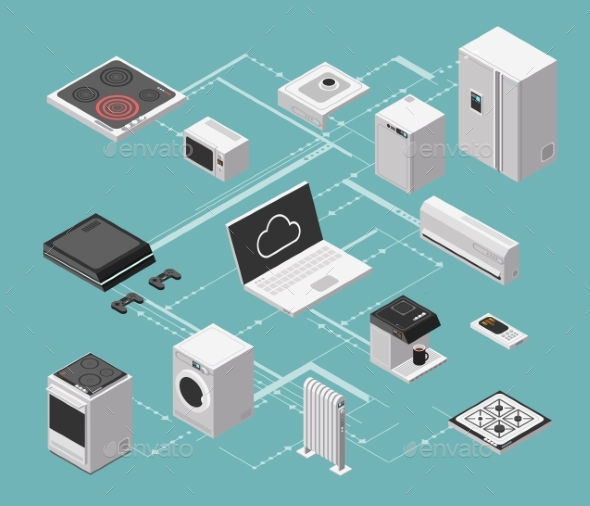 Smart House and Electrical Control Isometric - Communications Technology