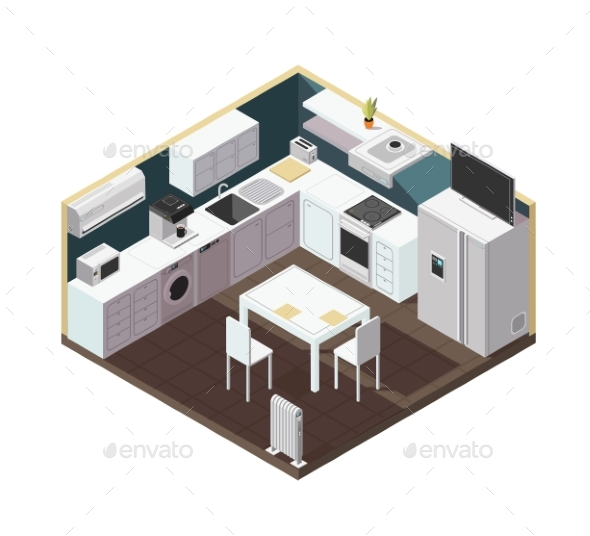 Isometric 3d Kitchen Interior with Household - Man-made Objects Objects
