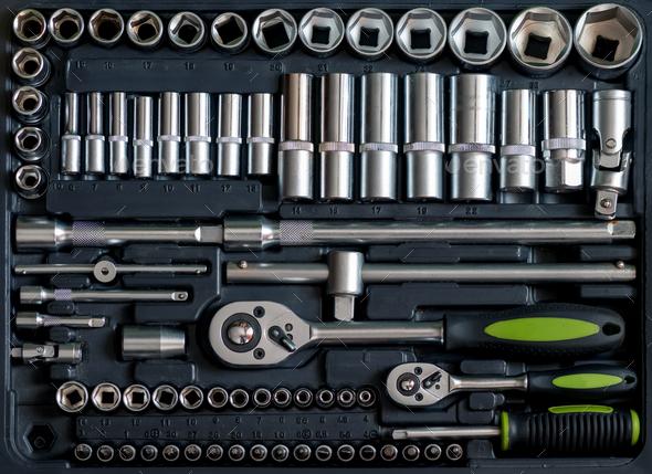 Set of tools for car repair in box - Stock Photo - Images