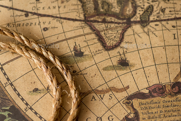 Rope on the old map - Stock Photo - Images
