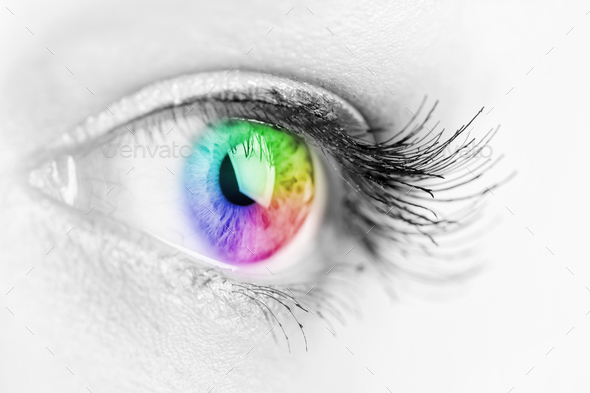 Girl colorful and natural rainbow eye - Stock Photo - Images