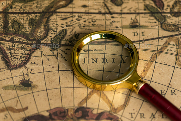Retro magnifier with old map - Stock Photo - Images