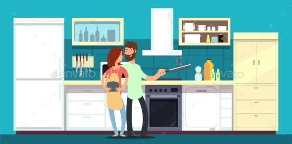 Happy Couple Cooking in Kitchen Vector - Objects Vectors
