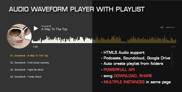 Audio Waveform Player with Playlist - CodeCanyon Item for Sale