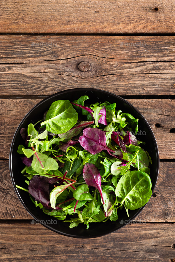 Fresh salad mix of baby spinach, arugula leaves, basil and chard. Italian cuisine - Stock Photo - Images