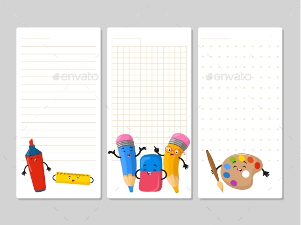 Notepad Pages with Cartoon Pencils Eraser - Objects Vectors