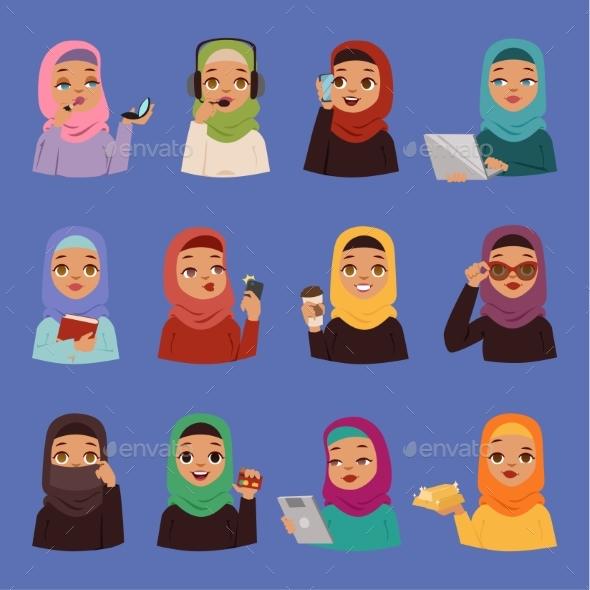 Muslim Religious Arabic Vector Adult Women - People Characters