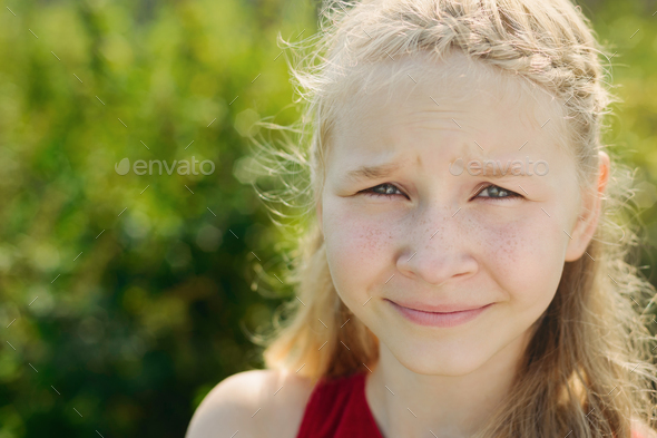 portrait of cute little blonde girl - Stock Photo - Images