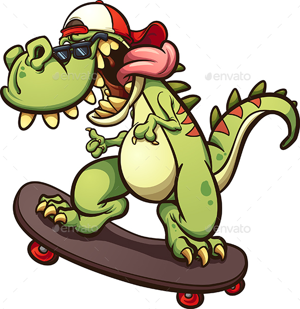 Skateboarding Tyrannosaurus Rex - Animals Characters