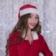 Santa Woman Flirt at Her Friend. Bokeh Background - VideoHive Item for Sale