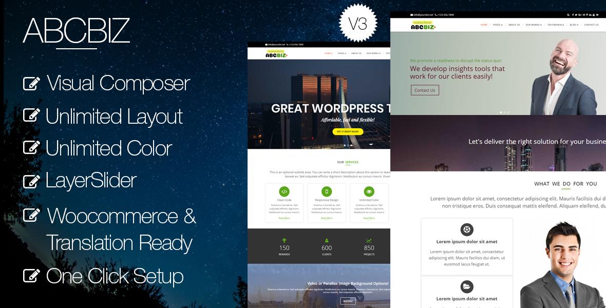 Abcbiz Responsive Wordpress Theme For Business By Abc Theme