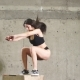 Fit Girl Doing Box Squat Exercise in CrossFit Gym - VideoHive Item for Sale
