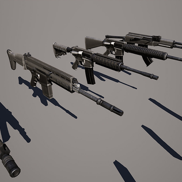 Photo-realistic Weapons For Games VR / AR - 3DOcean Item for Sale