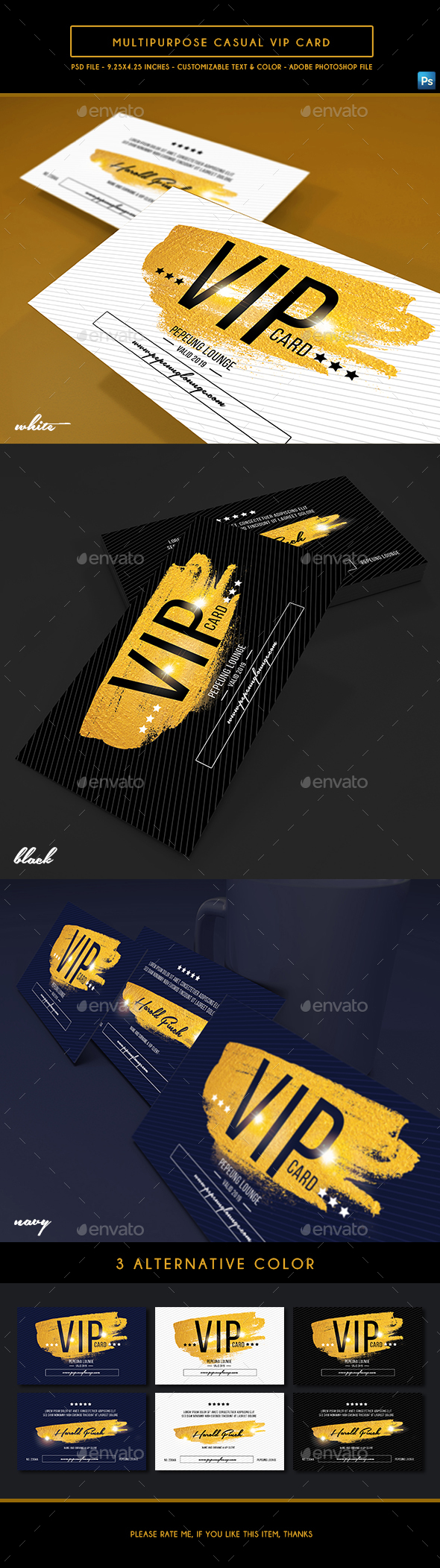 Multipurpose Casual Vip Card - Business Cards Print Templates