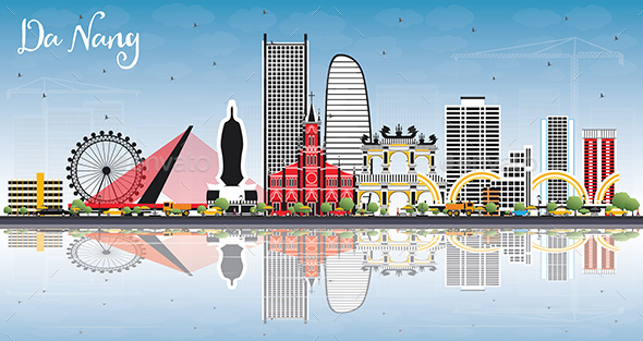 Da Nang Vietnam City Skyline with Color Buildings, Blue Sky and Reflections. - Buildings Objects