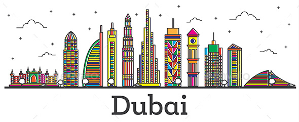 Outline Dubai UAE City Skyline with Color Buildings Isolated on White. - Buildings Objects