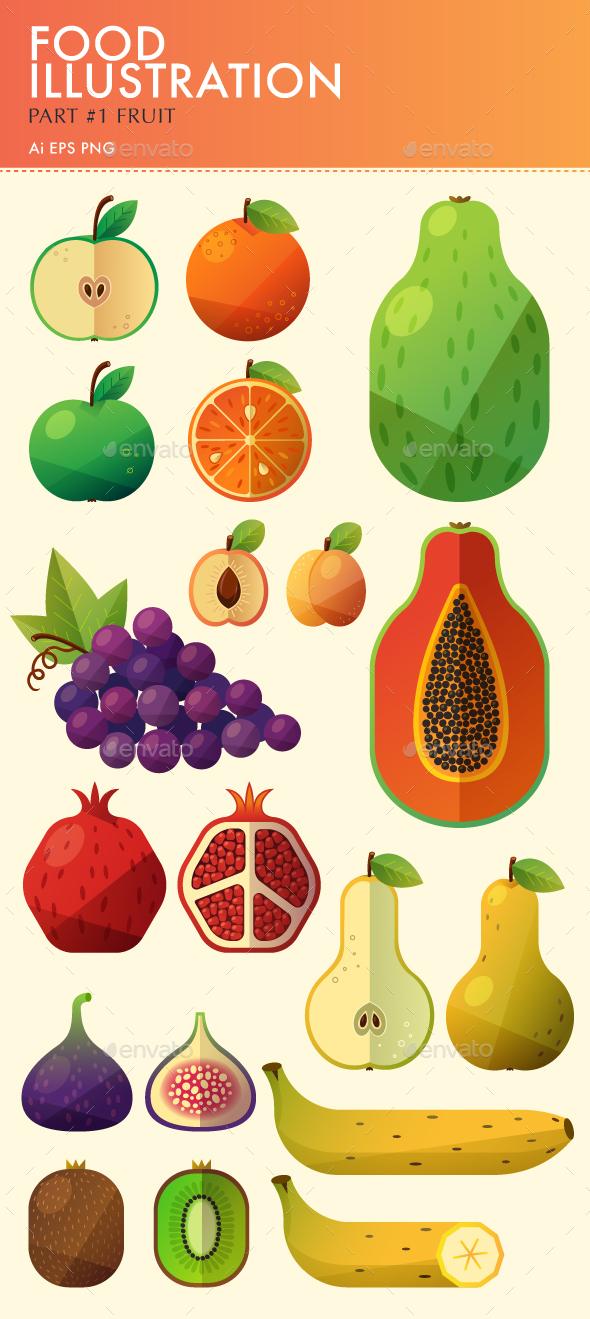 Food Illustration. Part #1. Fruit. - Food Objects