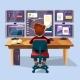 Vector Cartoon Trader, Financial Analyst Workplace