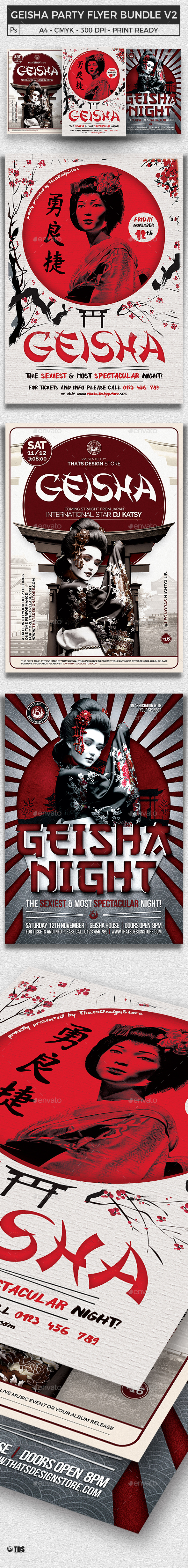 Geisha Party Flyer Bundle V2 - Clubs & Parties Events