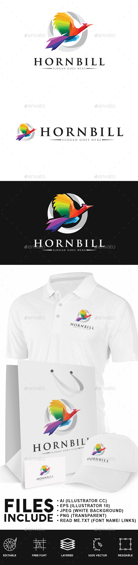 Hornbill Bird Logo - Animals Logo Templates