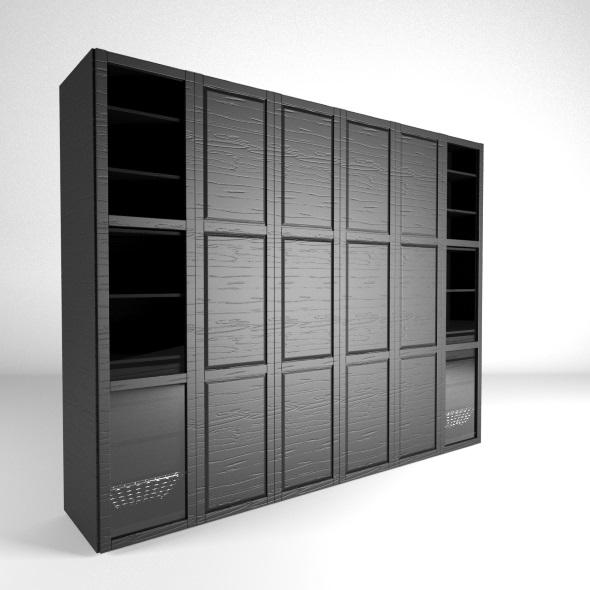 Wardrobe black-brown - 3DOcean Item for Sale