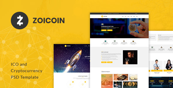 Zoicoin - Bitcoin, ICO and Cryptocurrency PSD Template - Business Corporate