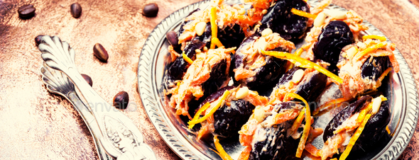 Prunes with walnut - Stock Photo - Images